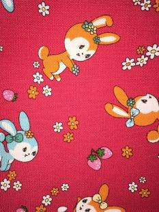 Bunnies Red Linen image